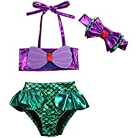 Carolilly Neonata Costume da Bagno Ragazza Sirenetta Bambina Bimba Costume da Bagno 3 Pezzi Bikini con Fascia Fiocco…