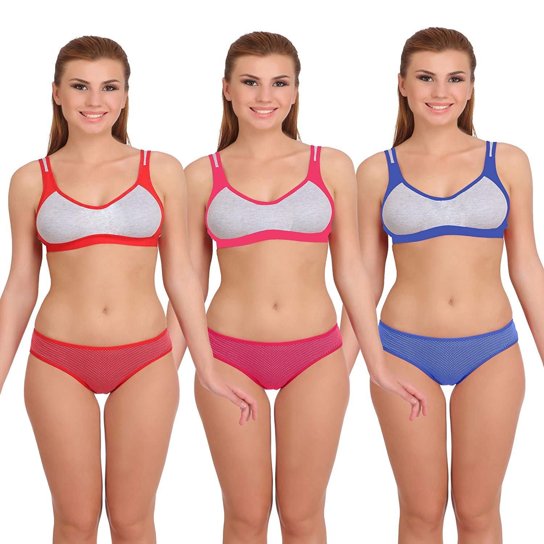 cfe3f1c2bf Fashion Comfortz Womens Sports Bra and Panty Set Womens Girls Ladies ...