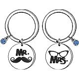 """Portachiavi in acciaio inox con scritta """"Mrs and Mr"""" e """"Mrs"""", idea regalo"""