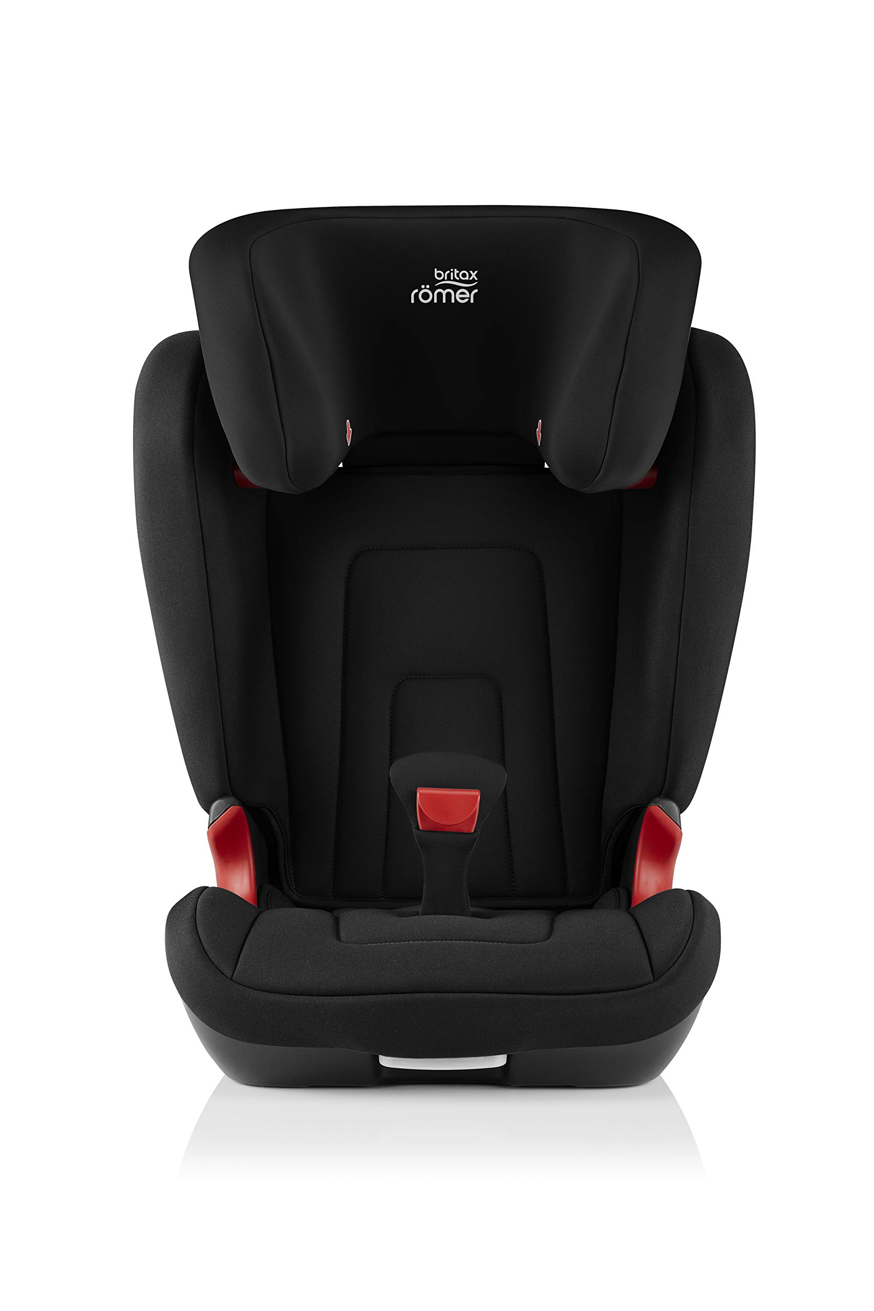 Britax Römer car seat 15-36 kg, KIDFIX 2 R Isofix group 2/3, Cosmos Black Britax Römer Secure guard - helps to protect your child's delicate abdominal area by adding an extra - a 4th - contact point to the 3-point seat belt. High back booster - protects your child in 3 ways: provides head to hip protection; belt guides provide correct positioning of the seat belt and the padded headrest provides safety and comfort. Easy adjustable v-shaped backrest - designed to give optimum support to your growing child, the v-shaped backrest provides more space for their back and shoulders. 2