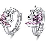 Orecchini Unicorno Bambini Orecchini a Cerchio in Argento Sterling 925 con Cristalli Rosa, Regalo di Compleanno Gioielli Unic