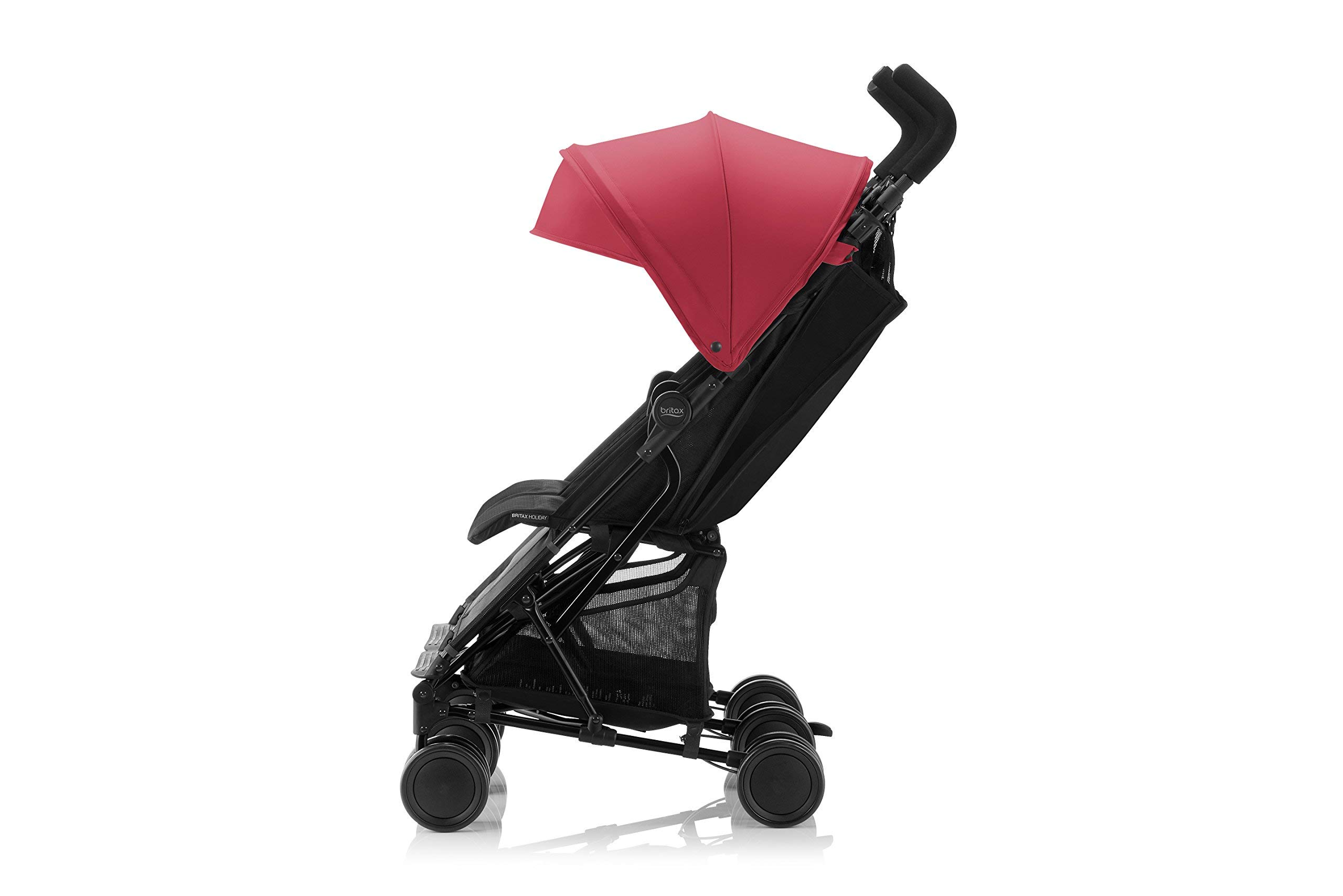 Britax Römer HOLIDAY DOUBLE Pushchair (6 months - 15 kg|3 years ) - Red/Blue  Reclining backrest - you can make your child's journey even more convenient with the reclining backrest. the backrest can be reclined independently which gives you the flexibility to provide a relaxing sleeping position for each child individually. Seat unit with mesh panels - to keep your child comfortable on hot days, the seat unit has mesh panels on the sides and top of the seat unit for better air circulation. Large hood with sun visor - when taking a nice relaxing stroll in the sun, the large hoods with sun visor are independently adjustable and provide protective shade to your little passenger. 8