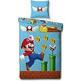 Character World Super Mario Omkeerbare Beddengoedset, 135 x 200 cm, 80 x 80 cm, 100% katoen, spelletjes, 100% katoen, katoen,