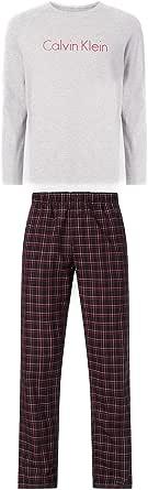 Calvin Klein Mens PJ/Pyjama Set Check Bottoms & L/S T-Shirt - Gift Boxed (Grey Heath Top/Garden Plaid Bottom) M