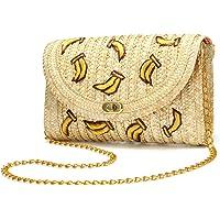 JOSEKO Borsa tote in paglia, borsa da donna in paglia intrecciata, borsa da spiaggia estiva, essenziale per i viaggi…