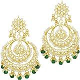 I Jewels 18K Gold Plated Alloy Kundan Stones Earrings For Women