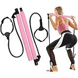 GLKEBY Kit Barra per Pilates con Fascia di Resistenza Regolabile Barra per Pilates Portatile per Stretching, Yoga, modellamen
