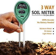 Dwayne C Soil pH Meter, 3-in-1 Moisture Sensor Meter/Light/pH Soil Test Kits, Gardening Tools for Home and Garden Lawn Farm Plants Care Soil Tester