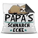 Print Royal Kuschel-Kissen inkl. Füllung mit Spruch für Papa - Papas Schnarch-Ecke - Bestes Vatertagsgeschenk/Geschenk…