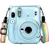 HONEYWHALE Custodia per Fujifilm Instax Mini 11- Coperchio di Protettiva Case in PVC Rigido con Tracolla Regolabile (traspare