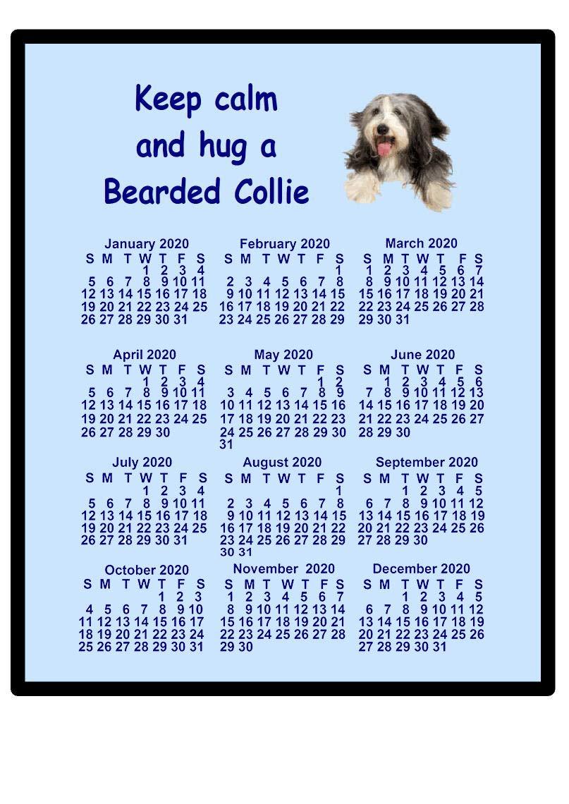 Bearded Collie – 2021 calendar Mouse mat (keep calm)