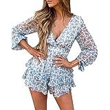 Loalirando Vestito da donna con scollo a V, maniche lunghe, mini abito da spiaggia con cintura, per il tempo libero, stampa f