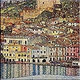 Time4art Gustav Klimt Print Canvas Bild Malcesine sul Garda auf Keilrahmen Leinwand verschiedene Größen (80x80cm)