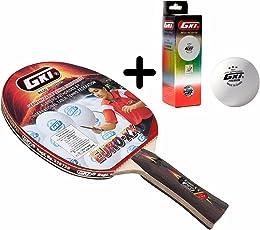 GKI Euro XX Table Tennis Combo Set (GKI Euro XX Table Tennis Racquet + GKI Premium 3 Star 40 Table Tennis Ball, Box of 3 - White)