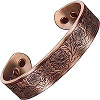 Bracelet Magnétique Celtique Bracelet Jonc Homme pour Toutes les tailles Bracelet Cuivre pur Six Aimants Super Cadeau pour Homme +Boîte Cadeau (ST)-Chardon Écossais (L: Poignet 19-21,5cm)