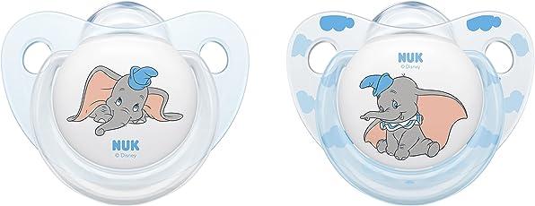 NUK Disney Classics Trendline Silikon-Schnuller Dumbo, kiefergerechte Form, 2 Stück