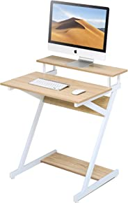 FITUEYES Computer Table Desk with Monitor Riser Shelf fit Home Office Small Place Gaming/Writing/Easting/Sofa Bed Study Oak C