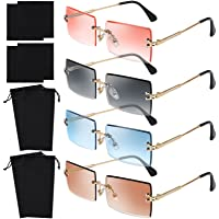URATOT 4 Pack Rimless Rectangle Sunglasses Vintage Rimless Eyewear Transparent Retro Sunglasses Metal Frame Eyewear…