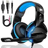 Cuffie Gaming per PS4 PS5 Xbox One, Upgraded Bassi Stereo Cuffie Over Ear con Microfono Condensatore Riduzione Del Rumore 50m