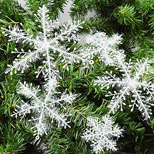 Saint-Acior Lot de 30pcs Flocons de Neige Décorations de Noël Ornements Suspendus Blanc