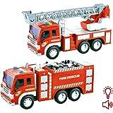 deAO Camion de Pompier à Friction avec Échelle de Secours Effets Sonores et Lumineux Inclus – Jeux Éducatif pour Enfants (2 Pack)