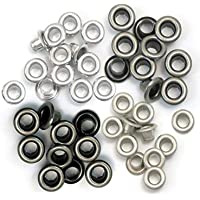 Oeillets - We R Memory Keepers - 60 œillets standards en métal froid pour le scrapbooking - 15 de chaque couleur