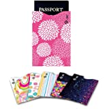 I3C RFID Blocking Credit Card Holder Colorful Anti-Theft Protector Sleeves 5 Credit Card & 1 Passport 6-Pack
