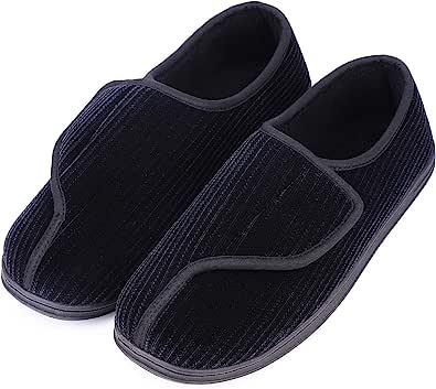 LongBay Men's Memory Foam Slippers Comfy Warm Plush Fleece Arthritis Edema Swollen House