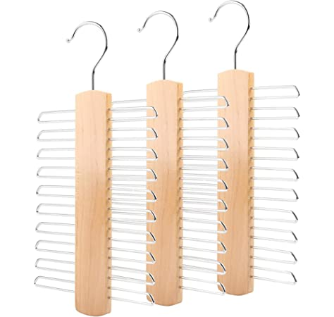 Belt /& Tie Rack Storage Organiser The Hanger Store™ 20 Bar Wooden Tie Hanger