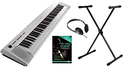 Yamaha Piaggero NP-32 Portable Piano Set (76 anschlagdynamische Tasten, 10 Top-Sounds, Record-Funktion, inkl. Keyboardständer, Kopfhörer und Klavierschule, USB, Batteriebetrieb möglich) weiss