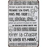 Hioni Les Règles des Toilettes Fermer la Porte derrière soi, Pancarte en Métal Panneau Poster Plaque Métallique Slogan Art Dé