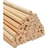 Kit Creatif de 60 Pièces de Baguette Bois Ronde en Bambou, Tourillon Bois Pour Vos Loisirs Créatifs (30 x 6 mm)