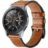 Circle compatible con Galaxy Watch 46 mm correa de reloj,correa de cuero genuino de 22 mm correa de repuesto de acero inoxida
