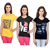 IndiWeaves Women's Combo Pack of Cotton Printed T-Shirts (Pack of 3)