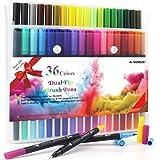 HELESIN Lot de 36 feutres à double face - Pinceaux de couleur - Marqueurs à pointe fine - Pour mandalas, peinture, marquage,