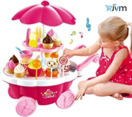 JVM Kids Electronic Pretend Plastic Toy Pink Ice Cream & Sweets Cart with Music Kitchen(Multicolour)