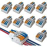 QitinDasen 9Pcs KV424 Palanca Tuerca Cable Conector, 2 en 4 fuera Bilateral 6 Puertos Compacto Conductor Conector, Rápido Cab