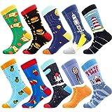 BONANGEL Calcetines de Vestir Divertidos, Coloridos Calcetines Para Hombres,Calcetines de Oficina de Algodón con Estampados D