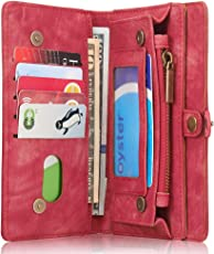 iPhone/Samsung Leder Handytasche Case Hülle Geldbörse mit Kartenfach abnehmbar Magnet Handy Schutzhülle für iPhone 6/6S/6Plus/6SPlus/iphone7/7Plus/S7/S7edge/S8/S8Plus 4 Farben