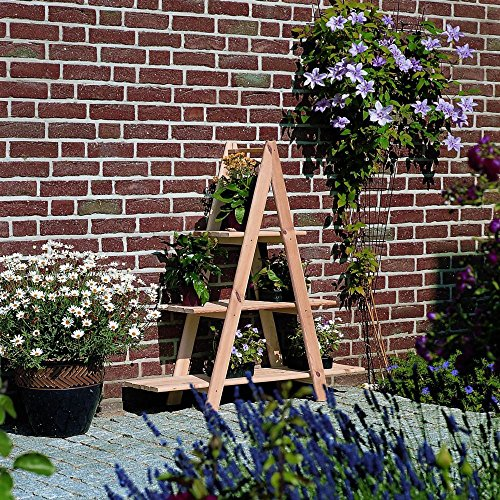 Holz-Blumenleiter Dekoleiter Kiefernholz massiv naturbelassen Regal