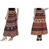 GAYATRI Fashion Women's Cotton Printed Wrap Around Long Skirts (Fashioncombo-001, Multicolour, Free Size)- Combo of 2