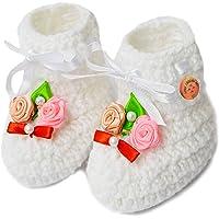 Love Crochet Art Unisex-Baby White Bootie - 6-12 Months