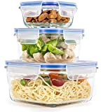 Ginoya Brothers Airtight Food Storage Glass Container for Fridge with Lid for Meal, Food, Rice, Pasta,Pulses, Cereals, Fruits and Vegetables Microwave Safe Storage Box Container - 750 ML + 550 ML + 300 ML (PACK OF 3)