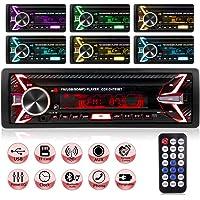 Autoradio Bluetooth Voiture,Poste Radio Voiture 1Din 7 Couleurs Stereo FM Radio 4x60W Poste Radio Voiture Soutien…