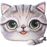 Flauschiger Geldbeutel Münzbörse Make-up- und Kosmetiktasche für Junge Frauen und Mädchen Süßes Katzenmotiv Animal Print Katz