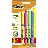 BIC Highlighter Grip Surligneurs Pointe Biseautée - Couleurs Fluo Assorties, Blister de 3+1