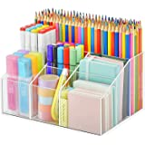 INDIAN DECOR. 999710 Acrylic Pen Holder, Clear Desk Organizer, Pen Organizer for Desk, 7 Compartments Desk Pencil Holder, Des