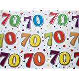 70th Birthday Wrapping Paper Gift Wrap, 2 Sheets, 1 Matching Tag 70 - white