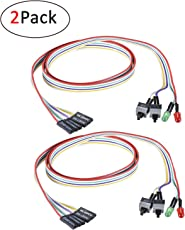 2 Pack ATX PC Computer Motherboard Power Cable 2 Switch On/Off / Reset with with HDD Power LED Light - 65cm (25 Inch)