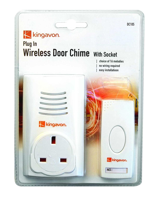 kingavon bbdc105 plugin wireless door chime with socket amazoncouk diy u0026 tools - Doorbell Chime
